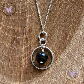Dumortierite Silver Circle Pendant Necklace